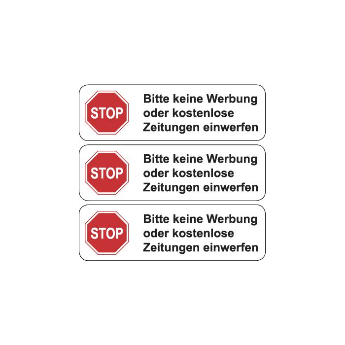 Briefkasten Aufkleber Stop Bitte Keine Werbung Typ 1 Weiss