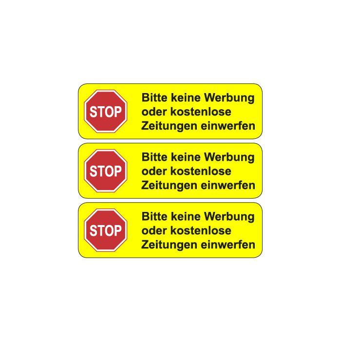 Briefkasten Aufkleber Stop Bitte Keine Werbung Typ 2 Gelb