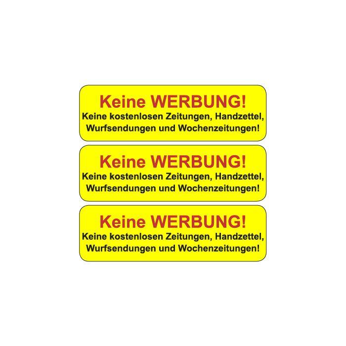 Briefkasten Aufkleber Bitte Keine Werbung Einwerfen Typ 6 Gelb