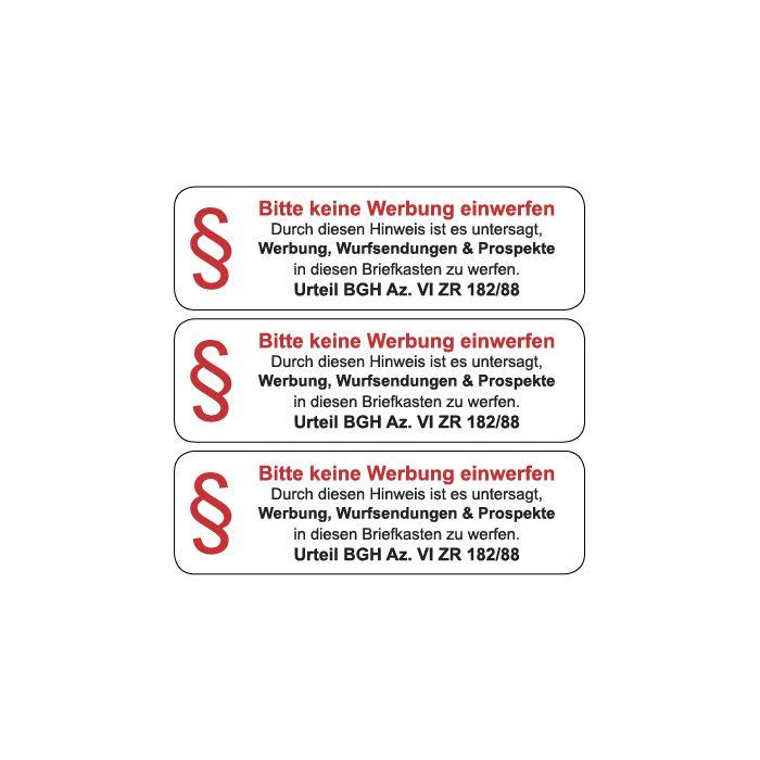 Briefkasten Aufkleber Bitte Keine Werbung Einwerfen Typ 9 Weiss