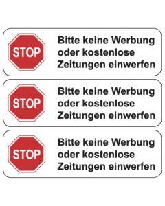 Briefkasten Aufkleber STOP, bitte keine Werbung ... TYP 1   weiss