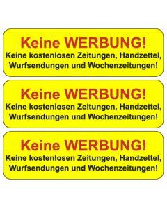"""Briefkasten Aufkleber """"Bitte keine Werbung einwerfen"""" TYP 6   gelb"""