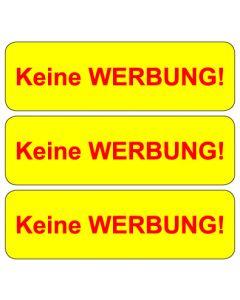"""Briefkasten Aufkleber """"Keine Werbung"""" TYP 8   gelb"""
