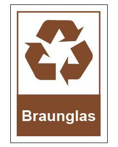 Recycling Wertstoff Mülltrennung Symbol Braunglas