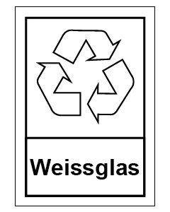 Recycling Wertstoff Mülltrennung Symbol Weissglas
