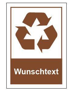 Recycling Wertstoff Mülltrennung Symbol Wunschtext braun