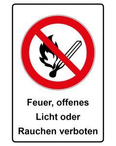 Verbotszeichen mit Text · Aufkleber | Schild | Magnetschild · Feuer offenes Licht oder Rauchen verboten