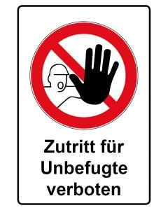 Verbotszeichen mit Text · Aufkleber | Schild | Magnetschild · Zutritt für Unbefugte verboten