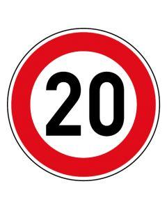 Verkehrszeichen Tempo Limit · Aufkleber | Schild | Magnetschild · 20 km/h