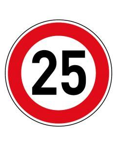 Verkehrszeichen Tempo Limit · Aufkleber | Schild | Magnetschild · 25 km/h