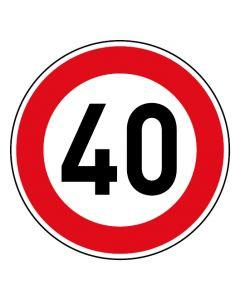 Verkehrszeichen Tempo Limit · Aufkleber | Schild | Magnetschild · 40 km/h