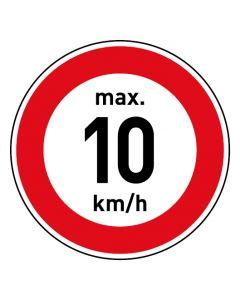 Verkehrszeichen · Aufkleber | Schild | Magnetschild · Zulässige Höchstgeschwindigkeit 10 km/h