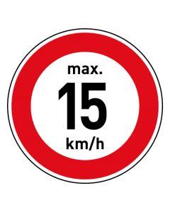 Verkehrszeichen · Aufkleber | Schild | Magnetschild · Zulässige Höchstgeschwindigkeit 15 km/h