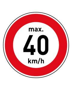 Verkehrszeichen · Aufkleber | Schild | Magnetschild · Zulässige Höchstgeschwindigkeit 40 km/h
