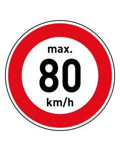 Verkehrszeichen · Aufkleber | Schild | Magnetschild · Zulässige Höchstgeschwindigkeit 80 km/h