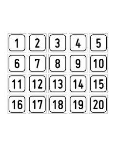 "Zahlenset · Aufkleber | Schild | Magnetschild · ""1-20"""