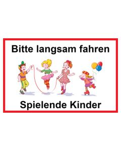 Hinweiszeichen · Aufkleber | Schild · Bitte langsam fahren · Spielende Kinder | Mod. 7