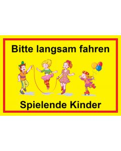 Hinweiszeichen · Aufkleber | Schild · Bitte langsam fahren · Spielende Kinder | Mod. 9