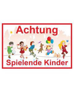 Hinweiszeichen · Aufkleber | Schild · Achtung · Spielende Kinder | Mod. 13