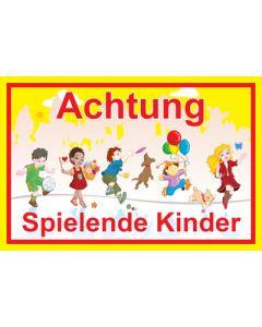Hinweiszeichen · Aufkleber | Schild · Achtung · Spielende Kinder | Mod. 15