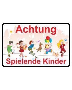 Hinweiszeichen · Aufkleber | Schild · Achtung · Spielende Kinder | Mod. 17