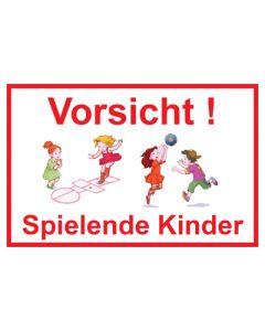 Hinweiszeichen · Aufkleber | Schild · Vorsicht · Spielende Kinder | Mod. 19