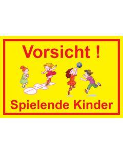 Hinweiszeichen · Aufkleber | Schild · Vorsicht · Spielende Kinder | Mod. 21