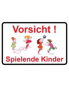 Hinweiszeichen · Aufkleber | Schild · Vorsicht · Spielende Kinder | Mod. 23