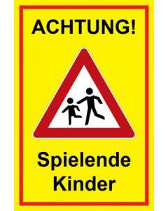 Hinweiszeichen · Aufkleber | Schild · Achtung Spielende Kinder | Mod. 127