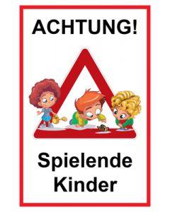 Hinweiszeichen · Aufkleber | Schild · Achtung Spielende Kinder | Mod. 131
