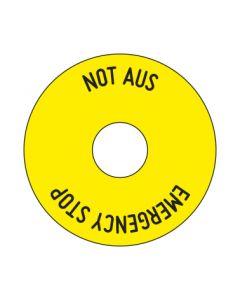 Aufkleber NOT AUS rund | gelb · schwarz