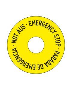 Aufkleber Not Aus rund | gelb · schwarz 3-sprachig