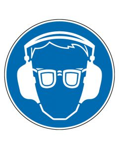 Gebotszeichen · Aufkleber | Schild | Magnetschild | Fußbodenaufkleber · Gehör- und Augenschutz benutzen