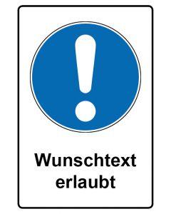 Gebotszeichen mit Text · Aufkleber | Schild | Magnetschild · Allgemeines Gebotszeichen