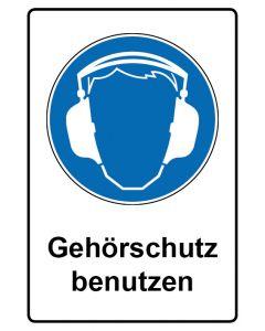 Gebotszeichen mit Text · Aufkleber | Schild | Magnetschild · Gehörschutz benutzen