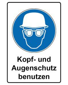 Gebotszeichen mit Text · Aufkleber | Schild | Magnetschild · Kopf- und Augenschutz benutzen