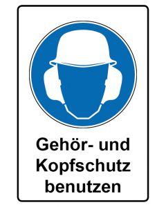 Gebotszeichen mit Text · Aufkleber | Schild | Magnetschild · Gehör- und Kopfschutz benutzen