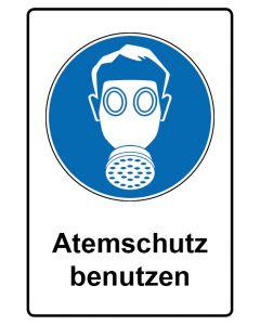 Gebotszeichen mit Text · Aufkleber | Schild | Magnetschild · Atemschutz benutzen