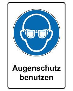 Gebotszeichen mit Text · Aufkleber | Schild | Magnetschild · Augenschutz benutzen