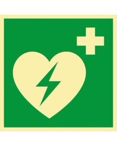 Rettungszeichen · Aufkleber | Schild | Magnetschild · Defibrillator · lang nachleuchtend