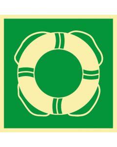 Rettungszeichen · Aufkleber | Schild | Magnetschild · Rettungsring, Schwimmring · lang nachleuchtend