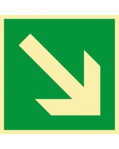 Rettungszeichen · Aufkleber | Schild | Magnetschild · Fluchtweg, Pfeil schräg rechts unten · lang nachleuchtend