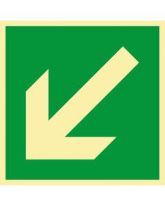 Rettungszeichen · Aufkleber | Schild | Magnetschild · Fluchtweg, Pfeil schräg links unten · lang nachleuchtend