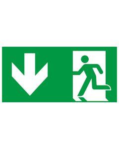 Rettungszeichen kombiniert · Aufkleber | Schild | Magnetschild · Fluchtrichtung Pfeil nach unten