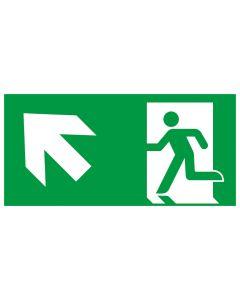 Rettungszeichen kombiniert · Aufkleber | Schild | Magnetschild · Fluchtrichtung Pfeil nach links oben