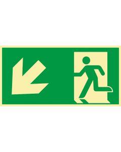 Rettungszeichen · Aufkleber | Schild | Magnetschild · kombiniert Fluchtrichtung Pfeil nach links unten · lang nachleuchtend