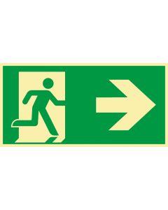 Rettungszeichen · Aufkleber | Schild | Magnetschild · kombiniert Fluchtrichtung Pfeil nach rechts · lang nachleuchtend