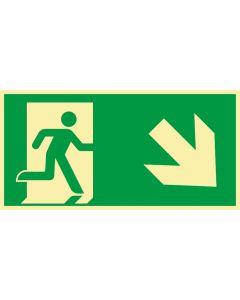 Rettungszeichen · Aufkleber | Schild | Magnetschild · kombiniert Fluchtrichtung Pfeil nach rechts unten · lang nachleuchtend