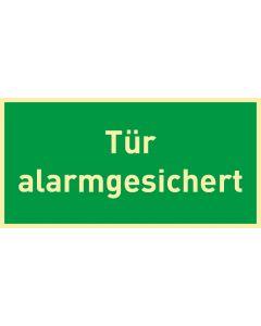 Rettungszeichen · Aufkleber | Schild | Magnetschild · Tür alarmgesichert · lang nachleuchtend