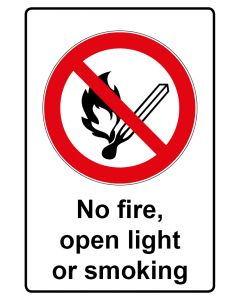 Verbotszeichen mit Text · Aufkleber | Schild | Magnetschild · No fire, open light or smoking